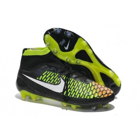 2016 Nike Magista Obra Firm-Ground Soccer Shoes Black Volt Hyper Punch White