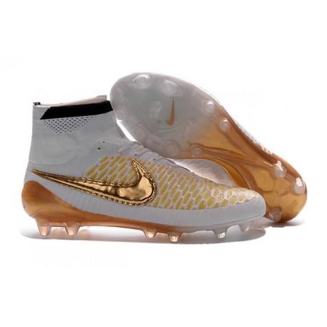 Boots For Men Nike Magista Obra FG Soccer Boots White Glod Black