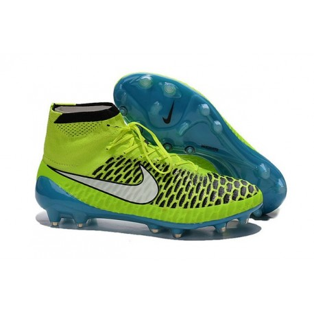 2016 Nike Magista Obra Firm-Ground Soccer Shoes Volt White Blue Lagoon Black