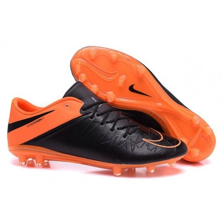 2016 Mens's Soccer Shoes - Nike HyperVenom Phantom FG Phinish Leather Black Total Orange