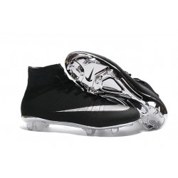 Sale Nike Men's Mercurial Superfly 4 FG Football Cleats Silver Black