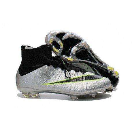 Sale Nike Men's Mercurial Superfly 4 FG Football Cleats Silvery Green Black