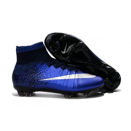 Nike Men's 2016 - Mercurial Superfly 4 FG Soccer Shoes Deep Royal Blue Metallic Silver Racer Blue