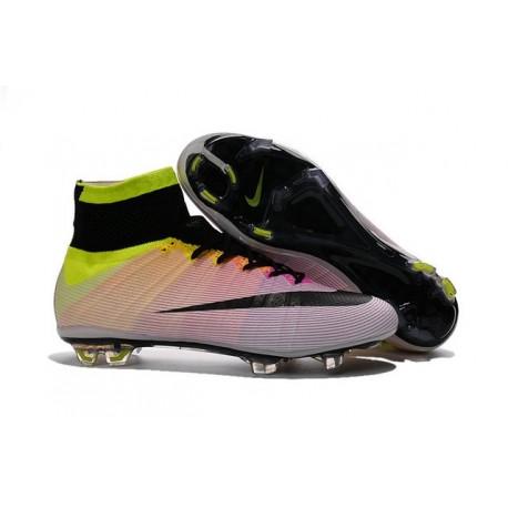 2016 Nike Men's Mercurial Superfly IV FG Football Shoes White Black Volt Total Orange