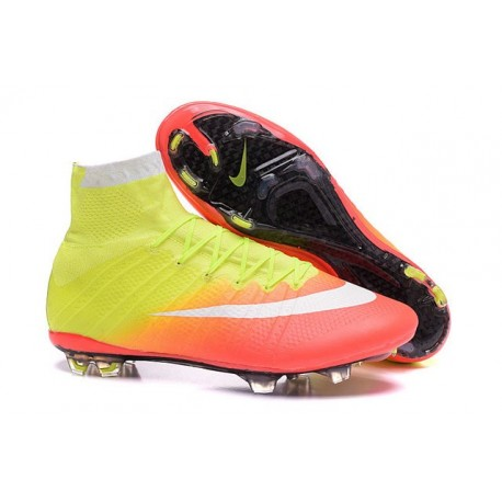Nike Men's Mercurial Superfly 4 FG Football Cleats Yellow Orange White Black