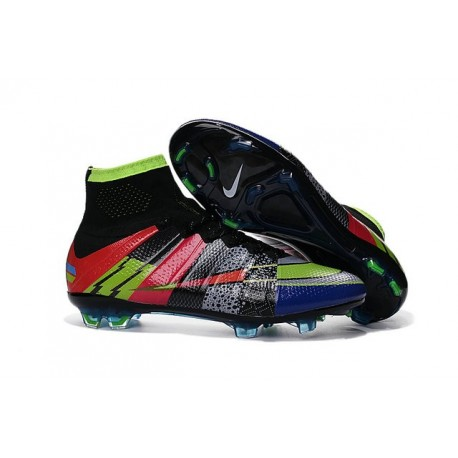 Nike Soccer Shoes - Mercurial Superfly 4 FG Soccer Cleats Black Green Blue Red What the Mercurial