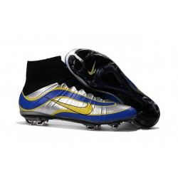 Sale Nike Men's Mercurial Superfly 4 Heritage FG Football Cleats Black Silvery Blue Yellow