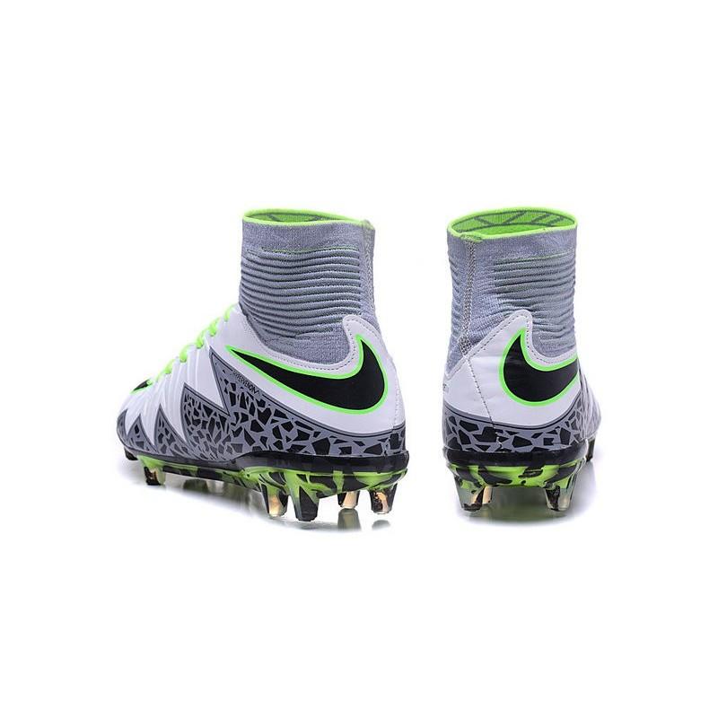 official photos acba0 762d1 Nike HyperVenom Phantom II FG Men s Firm-Ground Soccer Cleats White Green  Grey Black