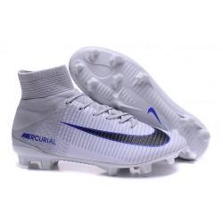 Nike Soccer Cleats - Nike Mercurial Superfly V FG White Grey Black