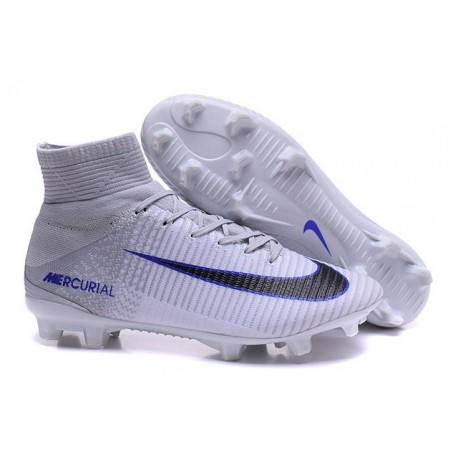 Nike Soccer Cleats - Nike Mercurial Superfly V FG White Grey Black