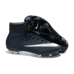 Nike Men's Mercurial Superfly 4 FG Football Cleats Dark Blue White