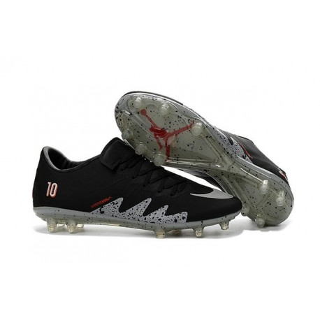 e964ee41a839 Best Football Shoes Nike HyperVenom Phinish FG Neymar x Jordan Black Light  Crimson White Metallic Silver