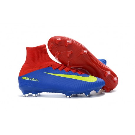 Football Boots For Men Nike Mercurial Superfly 5 FG Blue Red Yellow