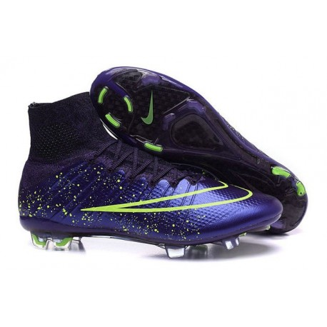 Nike Soccer Shoes - Mercurial Superfly 4 FG Soccer Cleats Power Clash Leather FG Green Purple