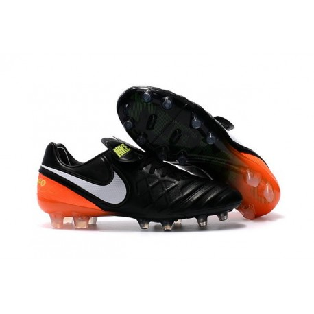 Nike Tiempo Legend VI FG Soccer Cleats for Men - Black White Hyper Orange Volt