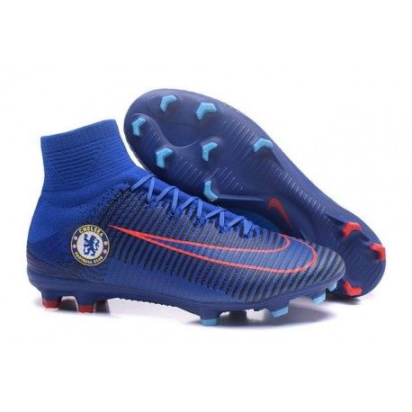 Nike Soccer Cleats - Nike Mercurial Superfly V FG Chelsea FC Blue Orange
