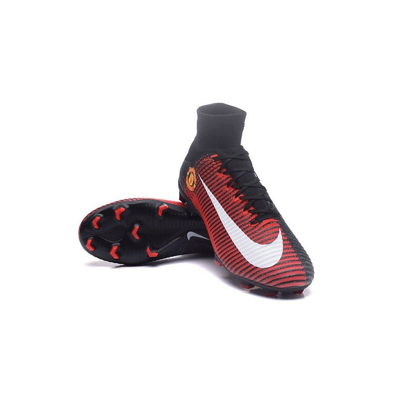 Football Boots For Men Nike Mercurial Superfly 5 FG Manchester United  Football Club Red Black White