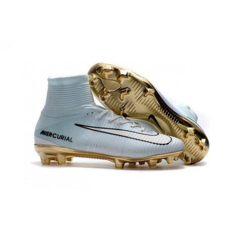 new concept 2c023 91eae Football Boots For Men Nike Mercurial Superfly 5 FG CR7 Vitórias White Gold  Black