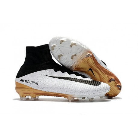 Football Boots For Men Nike Mercurial Superfly 5 FG White Gold Black