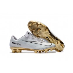 Men's Football Cleats Nike Mercurial Vapor XI FG CR7 Vitórias White Gold Black