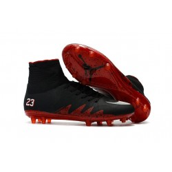 Nike HyperVenom Phantom II FG Men's Firm-Ground Soccer Cleats Jordan Black Red White
