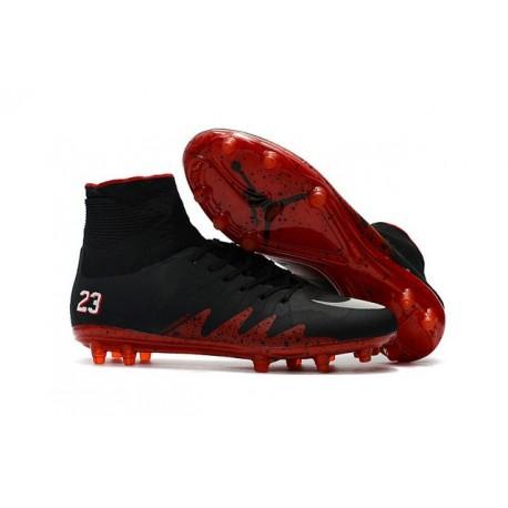Nike HyperVenom Phantom II FG Men's Firm-Ground Soccer Cleats Jordan Black Red White