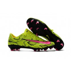 Men's Football Cleats Nike Mercurial Vapor XI FG Snakeskin Yellow Pink