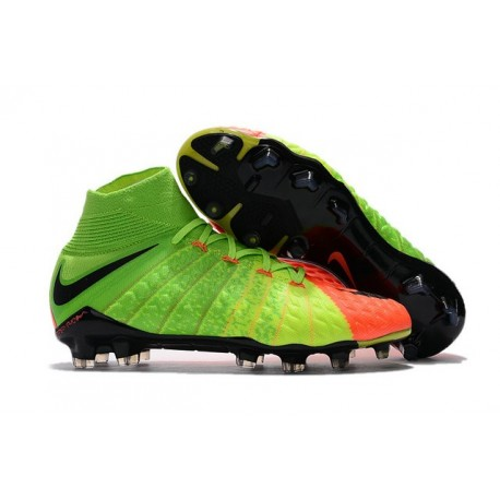 Cheap Nike Hypervenom Phantom III DF FG Men Soccer Cleats Electric Green Black Hyper Orange