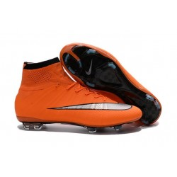 Nike Mercurial Superfly IV FG Soccer Boots - Orange Black SilveryShoes For Men