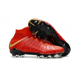 Cheap High Top Nike Hypervenom Phantom III DF FG For Men Red Gold