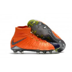 Nike Hypervenom phantom III DF FG Neymar Soccer Shoes Wolf Grey Purple Dynasty Max Orange