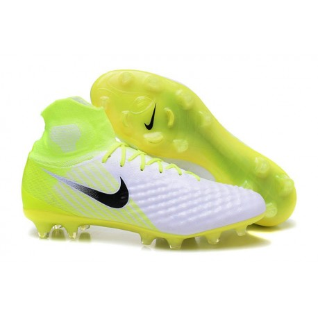 Men Soccer Shoes - Nike Magista Obra II Firm-Ground - White Volt Pure Platinum