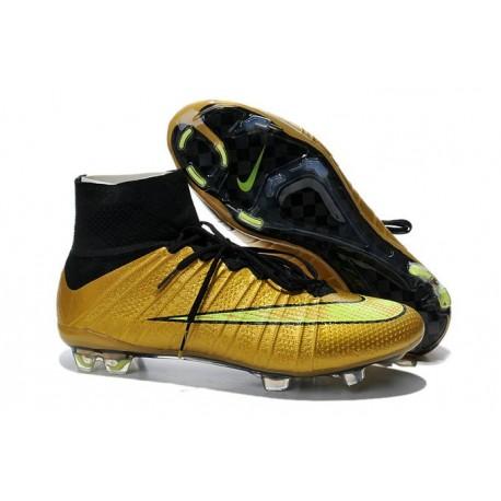 Nike Men's 2016 - Mercurial Superfly 4 FG Soccer Shoes Black Gold Volt