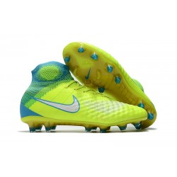 Nike Magista Obra II Tech Craft Firm Ground Football Shoes For Men - Volt White Chlorine Blue