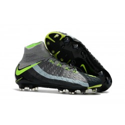 Cheap Nike Hypervenom Phantom III FG Men Soccer Cleats Grey Black Green