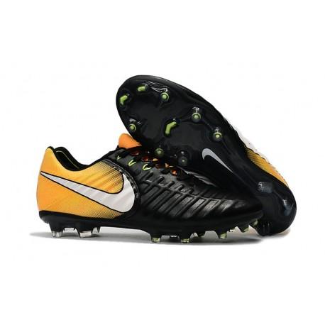 Soccer Shoes For Men Nike Tiempo Legend 7 FG - Black White Yellow 744794925435