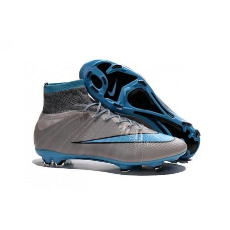 2016 Nike Men's Mercurial Superfly IV FG Football Shoes Grey Blue Black