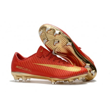 Men's Football Cleats Nike Mercurial Vapor XI FG CR7 Gold Red