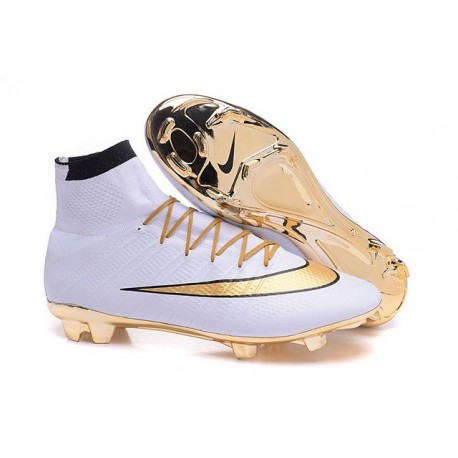 the latest 90660 0b8ca Nike Men's Mercurial Superfly 4 FG Football Cleats Gold White Black