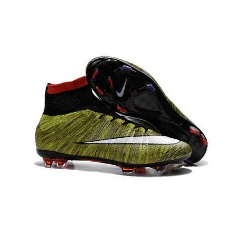 New Nike Mercurial Superfly IV FG Football Shoes Volt Red Black White
