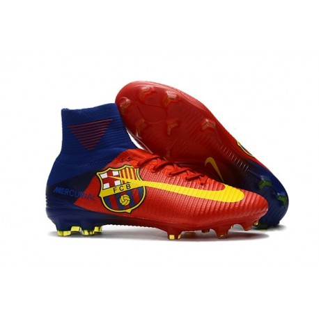 Football Boots For Men Nike Mercurial Superfly 5 FG Barcelona FC Blue Red Yellow