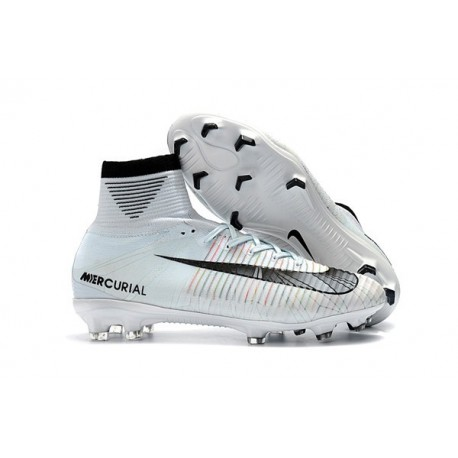 Football Boots For Men Nike Mercurial Superfly 5 FG Ronaldo White Blue Tint