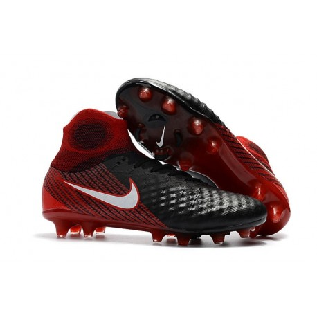 Men Nike Magista Obra II Firm-Ground Soccer Cleats Black White Hyper Crimson Bright Crimson