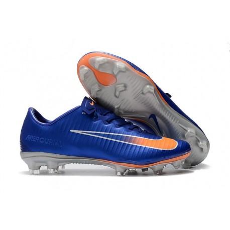 Men's Football Cleats Nike Mercurial Vapor XI FG Blue Orange Silver