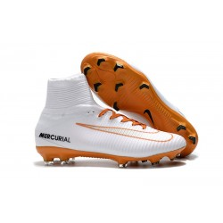 Football Boots For Men Nike Mercurial Superfly 5 FG White Gold