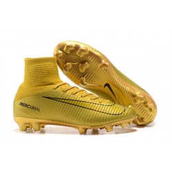 Football Boots For Men Nike Mercurial Superfly 5 FG CR7 Gold Black