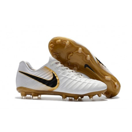 Soccer Shoes For Men Nike Tiempo Legend 7 FG - White Gold Black