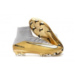 Football Boots For Men Nike Mercurial Superfly 5 FG CR7 Quinto Triunfo Gold White