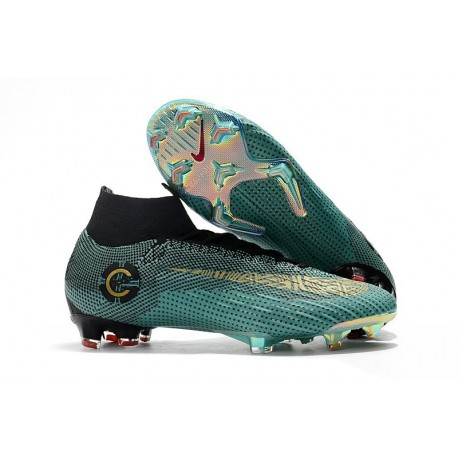 Soccer Shoes For Men - Nike Mercurial Superfly 6 Club Ronaldo FG Clear Jade Metallic Vivid Gol Black