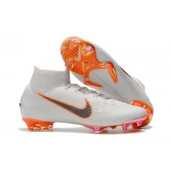 Soccer Shoes For Men - Nike Mercurial Superfly 6 Elite FG White Metallic Cool Grey Total Orange